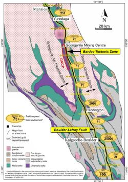 Gold endowment along the Bardoc Tectonic Zone and the contiguous Boulder-Lefroy Fault