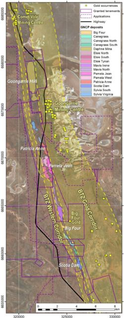 The Gold Corridors of the Bardoc Tectonic Zone and its relationship to the Goongarrie Nickel Cobalt Project.