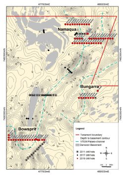 Namaqua, Bungarra and Bowsprit Drill hole locations