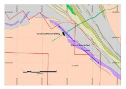 Kat Gap plan view showing strike length to be tested in follow up drilling