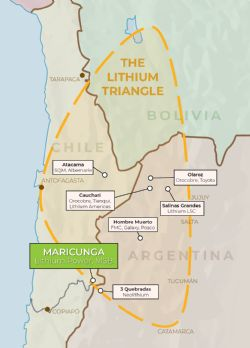 Maricunga project location in the Lithium Triangle in Chile