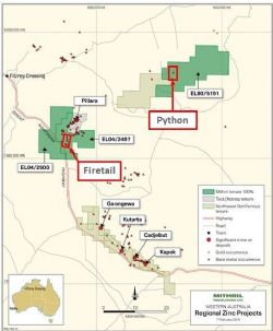 Billy Hills Zinc Project location of the priority Firetail and Python prospects