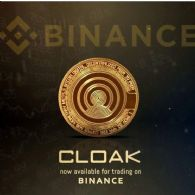 加密货币交易平台币安 (CRYPTO:BNB) 上市 CloakCoin (CRYPTO:CLOAK)