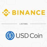 加密货币交易平台币安 (CRYPTO:BNB) 将于2018/11/17日上市 USD Coin (CRYPTO:USDC)