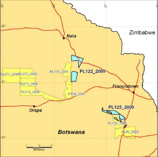 A Map of NE Botswana in the Francistown area highlighting the two new PLs granted