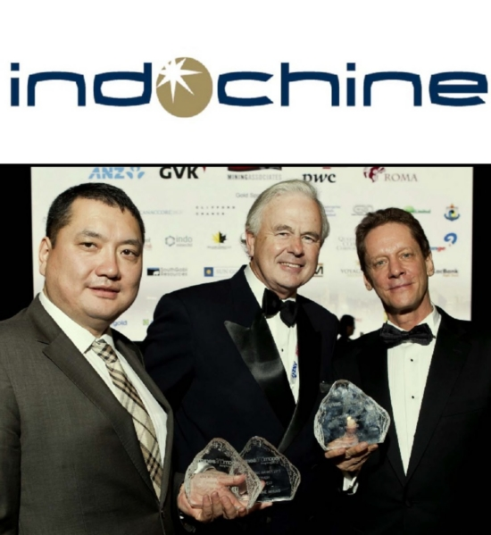 Mr Ian Ross, Chairman of Indochine Mining (centre) with Mr Robert Friedland of Ivanhoe Mines and Mr Yadmaa Ariunbold, the Consul‐General of Mongolia in Hong Kong, winners of Asia Mining Awards at the Mines and Money Asia Conference.