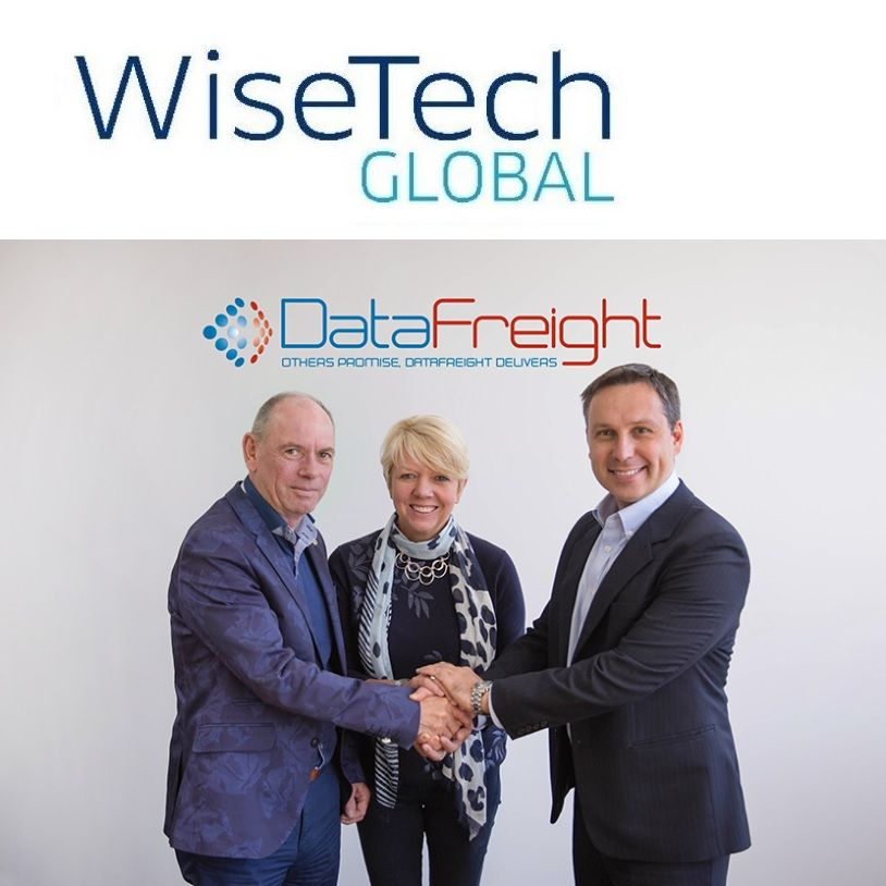 DataFreight's Ian and Sharon Brown, and WiseTech Global's Vlad Bilanovsky