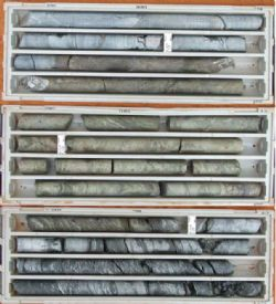 Diamond core trays containing VMS mineralisation