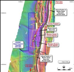 Western Queen Shear Zone Prospectivity over TMI Airborne Magnetics