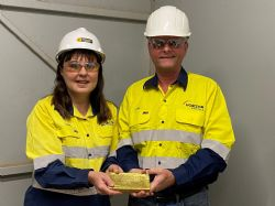 Lydia Weeber and Jon Price with first gold poured from the Crown Jewel deposit in over 100 years