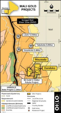 Figure 1: a) Location of Oklo's Dandoko and Moussala gold projects in west Mali.