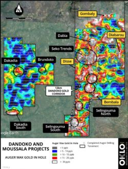 Figure 1: b) Location of Seko trends within 12km long Dandoko gold corridor.
