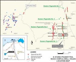 E 47/2983 Pegmatites, Rock Chips & Drill Holes Location Map