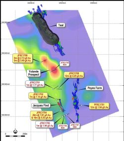"Plan showing current Teal gold project open pit mine design, JORC Resource extents, new drilling intercepts and the Induced Polarisation (""IP"") survey modelled at 100m depth"