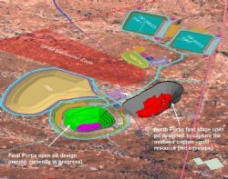 Oblique view of the current Portia gold mine site layout and open pit (green)