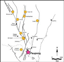 Location of the Paupong Project in southern NSW, relative to other significant precious and base metal deposits.