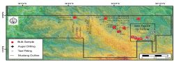 Mustang's ruby project tenements with sampling, drilling and pitting localities to date.