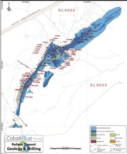 Railway deposit drilling plan illustrating increased data density along some 1.6km strike. Source: Cobalt Blue Holdings.