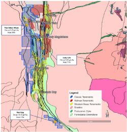FGP tenure shown in blue. Drill sites & surrounding mines.