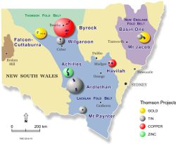 Thomson Projects in NSW. The Bygoo Project is in the Ardlethan Tin Field, central NSW.