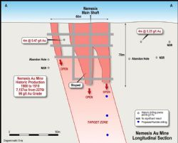 Longitudinal Section AA of the Nemesis High-Grade Au Mine with Proposed RC Drilling