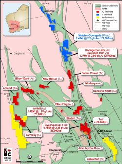 Kalgoorlie gold project locations, regional geology and surrounding infrastructure