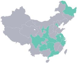 The 14 provinces and districts in China highlighted are covered by current strategic partnerships.