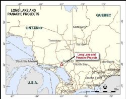 Location of Long Lake and Panache Projects