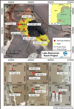 Kachi Lithium Project showing drilling locations