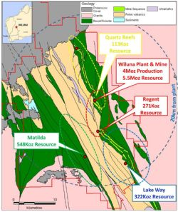 Four large gold systems of the Matilda-Wiluna Gold Operation that have produced 4.4Moz