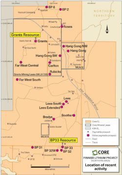 Active pegmatite prospects in the northern area of Finniss Lithium Project