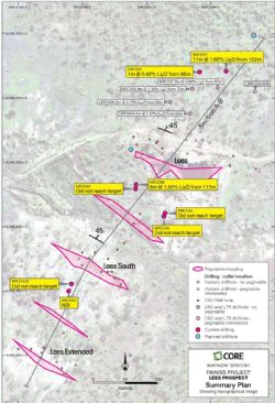 Recent RC drill intersections at Lees Prospect in plan (magenta squares).
