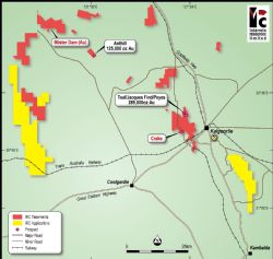 Intermin's gold project locations, regional geology and surrounding infrastructure