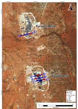 Forrest Bell and Boudie Rat open pits showing historical drillholes and Sections AA-DD