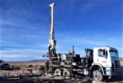 Diamond rig currently operating at site and at 141m deep