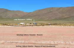 Location of LKE's drill operations at Cauchari in relation to Advantage Lithium/Orocobre & Gangfeng/Lithium Americas leases.