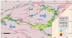 Drill hole locations and resource outline of the Tumas 1 East uranium mineralisation