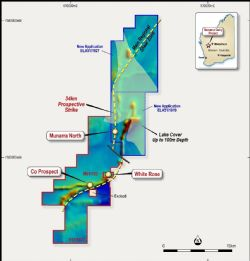 Munarra Gully Project – Location of Prospect over Regional Magnetics