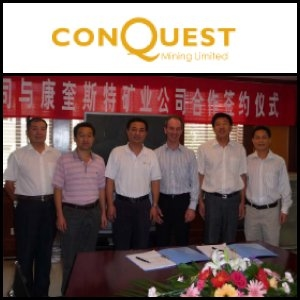 Australian Market Report of September 16, 2010: Conquest Mining Limited (ASX:CQT) Enters Into Gold-Silver-Copper Offtake Contract with Shandong Guoda Gold