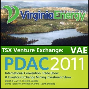 Virginia Energy Resources Inc. (CVE:VAE) Invites Convention Attendees To Visit Booth 2148 at PDAC International Convention, Toronto, Canada