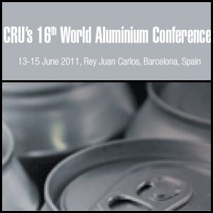 CRU 16th World Aluminium Conference To Be Held On 13-15 June In Barcelona, Spain